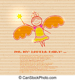 Little fairy on a cardboard background