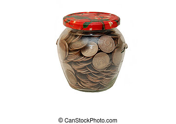 quart jar full of coins, pennies,nickels,dimes and quarters