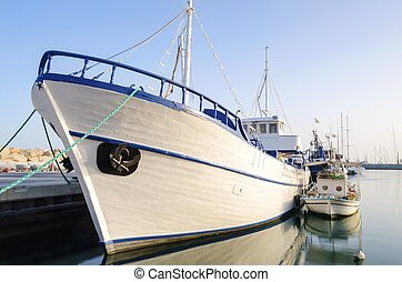 Old Port, Limassol, Cyprus - Fishing boats docked at the...