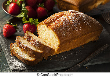 Homemade Pound Cake with Strawberries and Cream