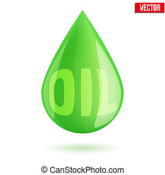 green oil industry drop symbol - Green oil industry drop...