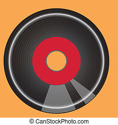 vinil - a black vinil in a yellow background