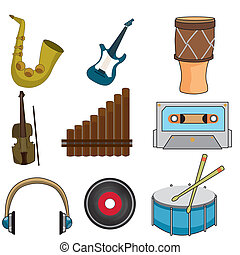 musical instruments - a set of different musical and...