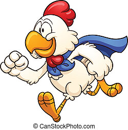 Super chicken - Running super chicken. Vector clip art...