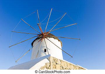 moinho de vento, Mykonos, ilha, Grécia