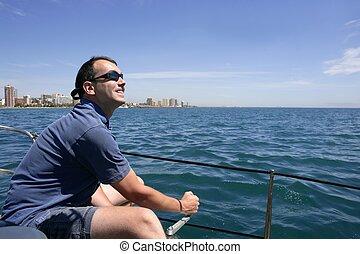 marinheiro, velejando, azul, tropicais, mar, Sailboat