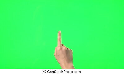 21 touchscreen gestures - female hand - on green screen