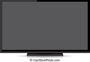 modern blank flat screen tv isolated on white background