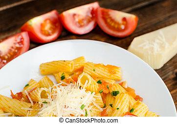Pasta arrabiata with tomato, garlic and chilli pepper