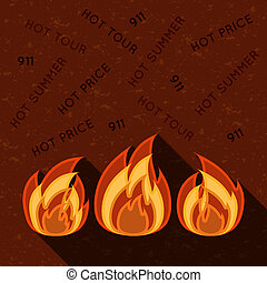 Symbol of fire on grunge background