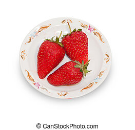 Three red strawberries on white platter isolated