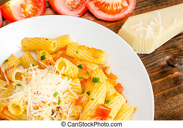 Pasta arrabiata with tomato, garlic and chilli pepper