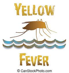 黄色, 熱, 蚊, まだ, 水