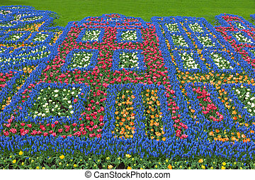 Keukenhof Garden, Lisse, Netherlands - Flowers pattern in...