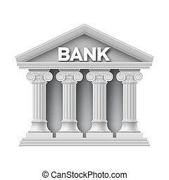 Stone building of bank with four columns