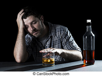 alcoholic addict man drunk with whiskey glass in alcoholism...