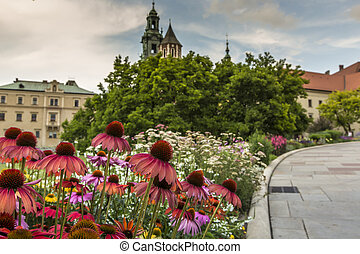 Garden in Wawel Castle, Cracow, Poland