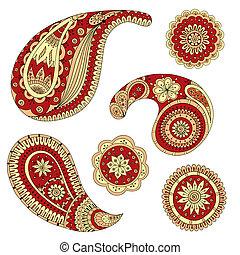 Henna Paisley Mehndi Vector Design Element. - Colored...