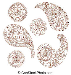 Henna Paisley Mehndi Vector Design Element - Henna Paisley...