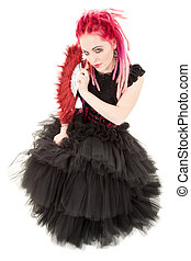 fan - picture of bizarre pink hair girl with fan