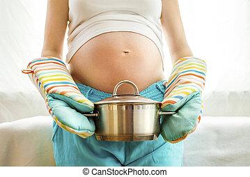mulher, grávida, cozinha