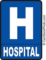 Hospital sign - 2d render of red Hospital sign isolated on...