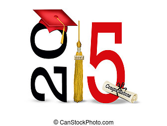 red graduation cap for 2015 - Red graduation cap and gold...
