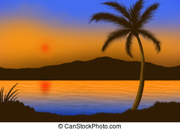 tropical sunset - illustration, colorful tropical sunset...