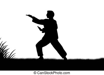 tai-chi - illustration, black silhouette of man practicing...
