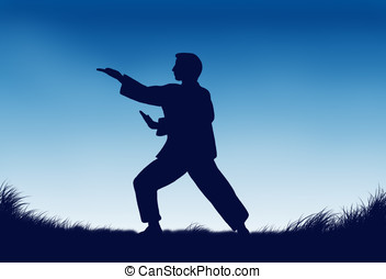 tai-chi - illustration, dawn and the silhouette of man...
