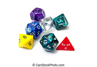 role playing dices isolated on white background - stock...