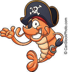 Pirate shrimp. Vector clip art illustration with simple...