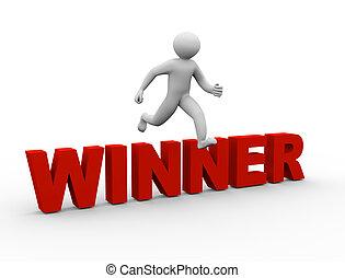 3d man jumping over winner