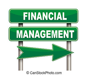 Financial management green road sign - Illustration of green...