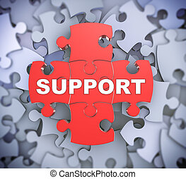 3d puzzle pieces - support - 3d illustration of attached...