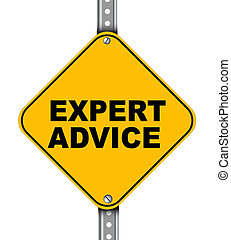 Yellow road sign of expert advice