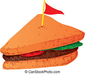 Sandwich - Vector Illustration of a Sandwich slice with a...
