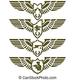 Army badges-3 - Abstract military badge with wings...