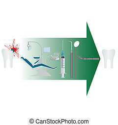 Dentistry - Treatment of diseased tooth. Illustration on...