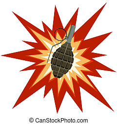 Fragmentation grenade - Grenade on a background of explosion...