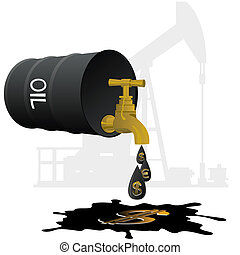Oil business - Barrel of oil products and stopcock dripping...