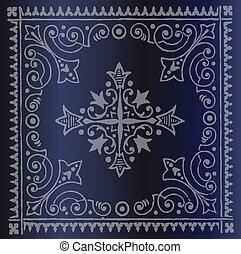 Beautiful Vintage Floral Dark Blue
