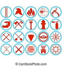 Set of firefighters icons - Outlined icons fire tools,...