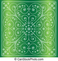 Floral Pattern on a Green Backgroun