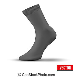 Realistic layout of black sock. A simple example. vector -...