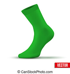 Realistic layout of green sock. A simple example. vector -...