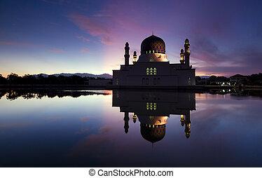 Beautiful Kota Kinabalu city mosque at dawn in Sabah,...