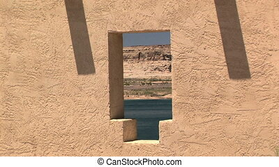 Lake Powell and boat through a window