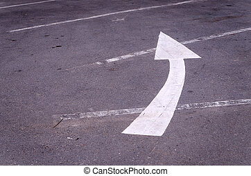 Turn left arrow on the road