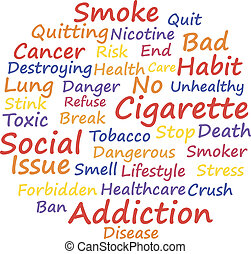 Smoking as a social issue, word cloud concept, vector...
